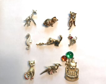 Vintage Animal Pins / Brooches, Costume Jewelry, 1960s 1970s 1980s, Choice Selection