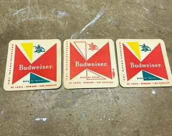 Set of 3 Vintage Budweiser Coasters Unused NOS