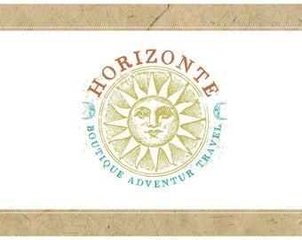 Custom Logo Design - PreDesigned Logo PreMade Logo Vector Logo - OOAK Logo - HORIZONTE Logo - Sun Logo - Astrological Logo - Moon Logo