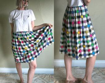 Vintage 1980's Neon Checkered Pleated Skirt, Elastic Waist, 30 Inch Waist
