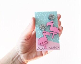 Acrylic Earrings Flamingos Laser Cut Bird Earrings Dangle Earrings Drop Earrings Colourful Earrings Mermaid Oscar & Matilda