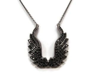 "HSN Rarities Carol Brodie  Black Spinel Sterling Silver ""Angel Wing"" 16"" Necklace"