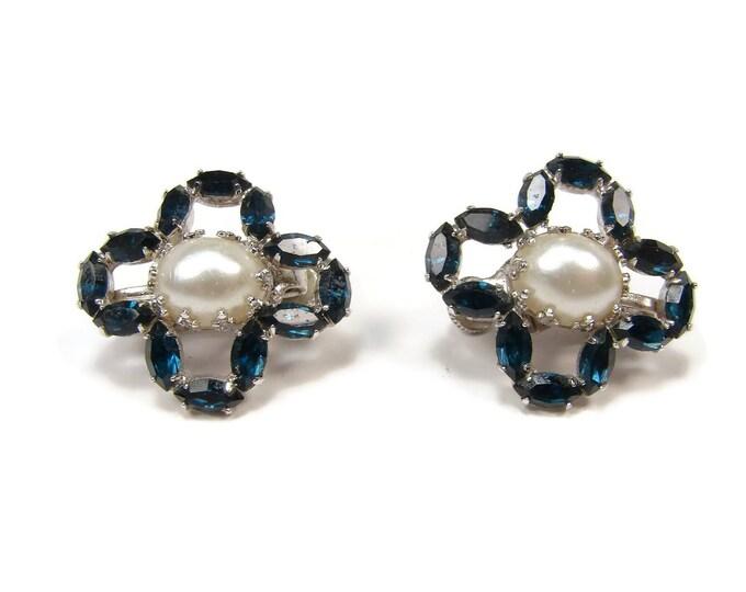 VENDOME Blue Rhinestone Pearl Clip On Earrings