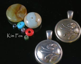 Round Cancer Pendant - June 22 July 23 -  in Golden Bronze and Sterling Silver designed by Kim Fox