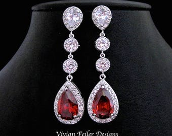 RED Earrings LONG Lux Tear Drop Wedding Jewelry Cubic Zirconia Prom Pageant Jewelry Bridal Glamorous Bling
