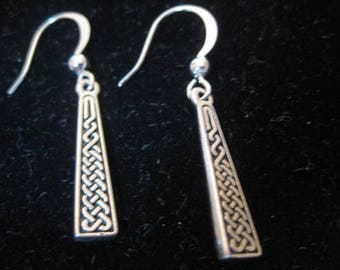 Antiqued Silver Celtic Braid Dangle Earrings