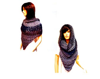 Chunky Scarf, Poncho Front, Cowl Hood Scarf, Cowl Scarf, Hooded Scarf, Oversized Scarf, Infinity Scarf, Boho, Hippie Clothes, Hoodie, Scarve