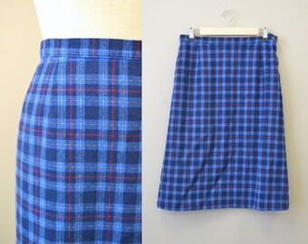 1980sm Pendleton Blue Plaid Wool Pencil Skirt