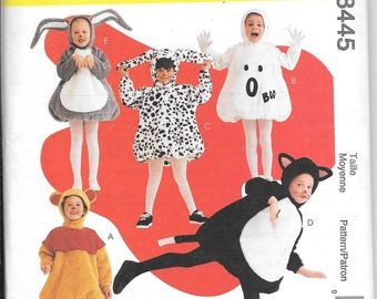 McCalls 8445 Kids Costume Ghost Bear Bunny Dalmation Halloween Sewing Pattern Childs Size 7, 8