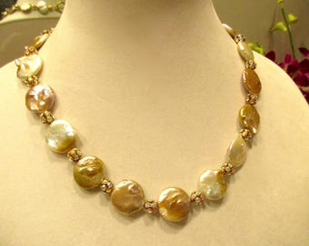 Golden Elegance: Splendid Genuine, Gleaming Baroque GOLD COIN PEARL Necklace w/Ab Pave & Gold Rhinestone Spacers and Micro Pave Clasp