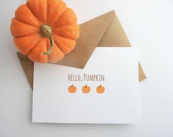 Hello Pumpkin -- Autumn, Fall Greeting Card & Envelope