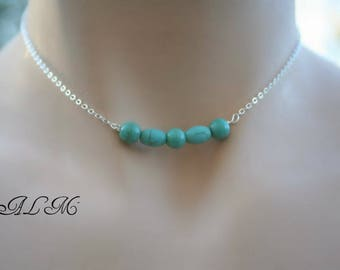 minimalist, adjustable necklace with turquoise