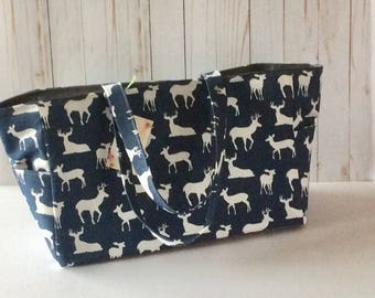 Deer Diaper Bag, Canvas diaper bag, navy blue, Waterproof lining, Magnetic snap closure/Zipper closure/Personalization option, MADE TO ORDER