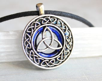 royal blue celtic knot necklace, triquetra jewelry, unique boyfriend gift, pagan symbol, wiccan jewelry, Irish pendant, mens jewelry