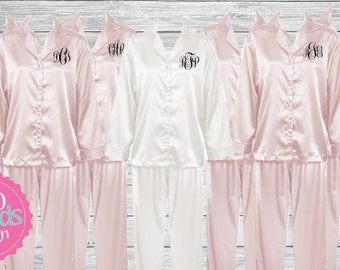 Bridesmaid Gift Bridesmaid Satin Pajamas Bridesmaid Pajama Set, Monogrammed Pajamas, Personalized Pajamas, Embroidered Pajamas, Wedding Pj's