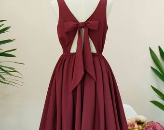 Red dress burgundy dress burgundy party dress dark red cocktail dress red bridesmaid dress burgundy bridesmaid dress prom red dress