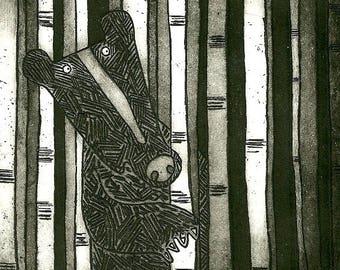 Hey Bear - black bear print, brown bear art print, limited edition grizzly bear print, handprinted black bear etching art unframed