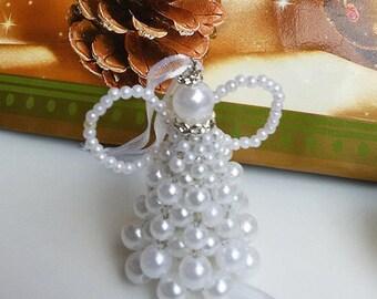 Pearl angel - Baptism favor - Baptism Gift - Beaded angel - Angel ornament - First communion favor - Christmas tree ornament - Set of 6