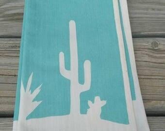 Vintage Southwestern Towel,  Vintage Aqua Towel,Cactus Towel,Tea Towels,Turquoise,Turquoise Towels,Vintage Fabric,Vintage,Southwest Fabric