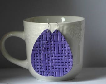 Purple Lavendar Basketweave Woven Leather Teardrop Drop Earrings