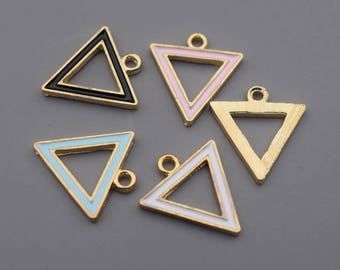 Enamel Geometry Charms-16Pcs Enamel Lake Blue Black White Pink Geometry Triangle Charms, Hot Summer Charm Jewelry Supplies, Findings C8529