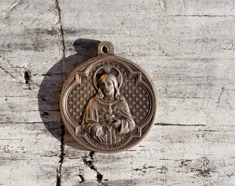 Victorian French Sacred Heart of Jesus Queen of Rosary Catholic Medallion