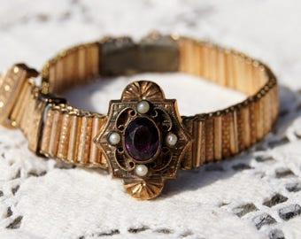 Victorian Rose Gold Amethyst Wedding Slider Bracelet