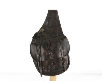 Vintage US Calvary Saddle US Saddle Bags US Leather Saddle Bags 1900's Leather Saddle Bags Black Leather Saddle Bags Military Collectible