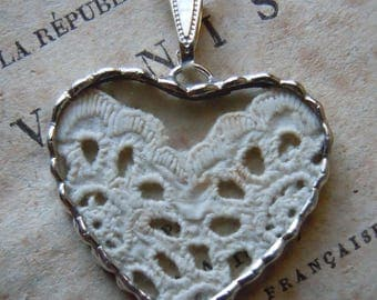 Fiona & The Fig - Early 1860s Antique Victorian Lace Charm -  Necklace - Pendant - Jewelry