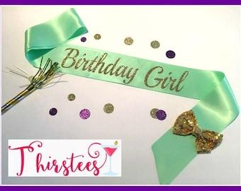 BIRTHDAY GIRL Gold Glitter Birthday Sash Party Sash birthday girl sash mint and gold theme birthday sash with bow birthday party birthday