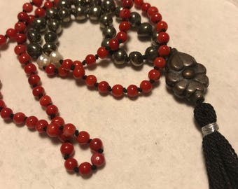 Mala Inspired Beaded Necklace with Bamboo Coral, Freshwater Pearls, and Pyrite