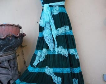"""20%OFF bohemian gypsy lagenlook hippy shabby maxi layered dress ...smaller to firmer 38"""" bust FREE SHIPPING"""