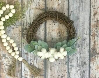 "Lambs Ear Wreath with Cotton Medium 8"" Cotton Wreath Mini Lambs Ear Wreath Small Wreath Farmhouse Wreath Lambs Ear Cottage Decor"