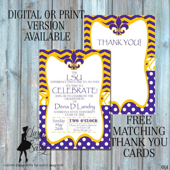 LSU Graduation Invitation, Graduation Invitation, Purple and Gold Invitation, Fleur de lis invitation, purple birthday invitation 015