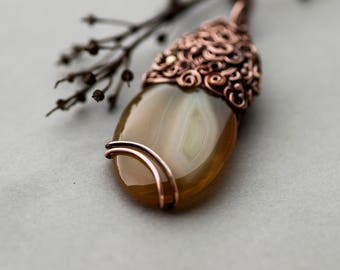 Agate Necklace, Rustic Brown Retro Agate Pendant, Elvish Gemstone Jewelry, Agate Necklace
