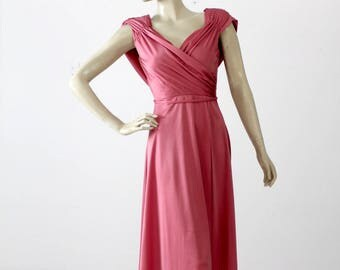 1970s Grecian draped disco dress