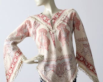 vintage hippie top, 1960s boho print shirt with tassels