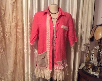 Pink Linen Blouse, lace ruffle hem, womens linen shirt, half sleeves, button up shirt, ladies shirt, ecowear, summer wear clothes, MEDIUM