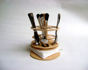 wooden cutlery set holder