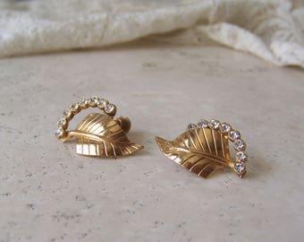 Vintage Earrings Designer Jewelry Gold Tone Leaf Rhinestone Screw Back Earrings Retro Jewelry Vintage 1960s