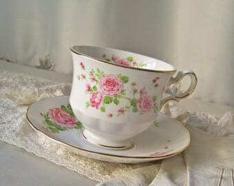 Vintage Teacup and Saucer Pink Roses Made in England Avon Teacup 1974 Dainty Pink Teacup and Saucer Gift for Mom