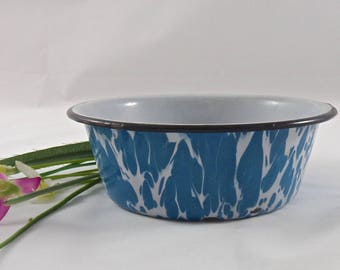 Vintage Enamelware Pot Small Pudding Dish Blue Swirl Enamelware Shabby Cottage Decor Enamel Ware Circa 1930s