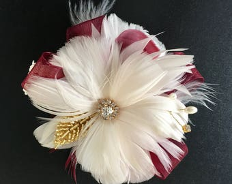 Corsage, Wrist corsage, Feather corsage, Gold corsage, Gatsby Wedding, Wedding corsage, Wedding accessory,Burgundy corsage,YOUR CHOICE COLOR