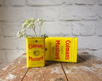Set of Two Colman's Mustard Tins Large and Small Tin Planter
