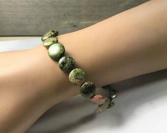 Beaded Unakite Bracelet - Earthy Jewelry - Gemstone Healing - Meditation - OOAK Bracelets