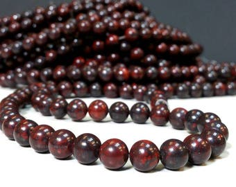 Natural Bloodstone 8 mm Smooth Round Beads - Healing Stone - Full Strand 15-1/2 Inch 1.1 mm hole Approximately 47 beads (G4420W19Q5-BH)
