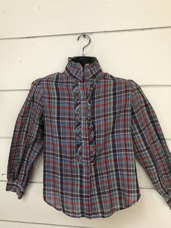 Vintage 70s plaid ruffled collar shirt small