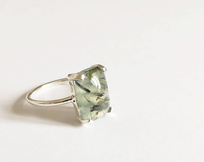 Prehnite Cabochon Ring in sterling silver - sterling silver prehnite ring
