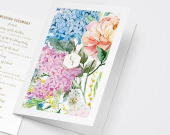 Watercolor Floral Wedding Program, Printable Program, Outdoor Wedding, Garden Wedding, Order of Service, Catholic Ceremony, Catholic Program