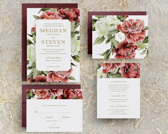 Marsala Wedding Invitation, Burgundy Floral, Marsala Floral, Fall Burgundy Wedding Invite, Winter Wedding, Burgundy Flowers, PRINTABLE